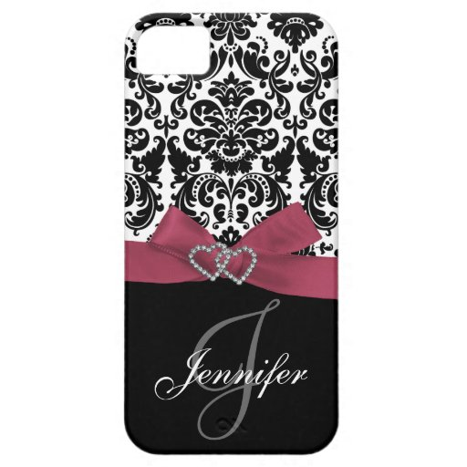 Personalized Pink, Black Ornate Damask Case iPhone 5 Covers