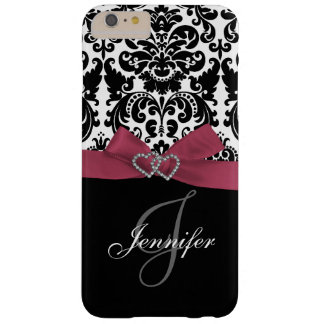 Personalized Pink, Black Ornate Damask Pattern Barely There iPhone 6 Plus Case