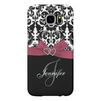 Personalized Pink, Black Ornate Damask Pattern Samsung Galaxy S6 Cases