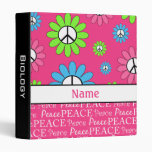 Personalized Pink Black Peace Sign School Binder
