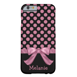 Personalized Pink Black Polka Dot Ribbon Bow Barely There iPhone 6 Case