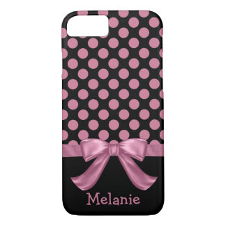 Personalized Pink Black Polka Dot Ribbon Bow iPhone 7 Case