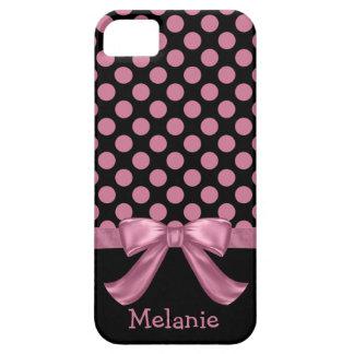 Personalized Pink Black Polka Dot Ribbon Bow iPhone SE/5/5s Case