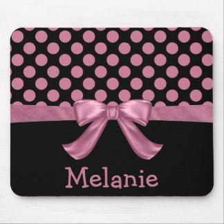Personalized Pink Black Polka Dot Ribbon Bow Mouse Pad