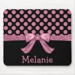 Personalized Pink Black Polka Dot Ribbon Bow Mousepads