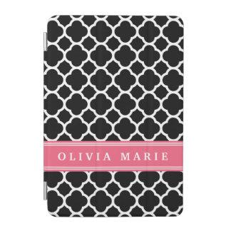 Personalized Pink Black Quatrefoil Pattern iPad Mini Cover