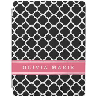 Personalized Pink Black Quatrefoil Pattern iPad Cover