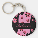 Personalized pink black  red floral pattern keychains