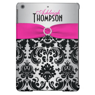 Personalized Pink, Black, Silver Damask iPad Air iPad Air Case