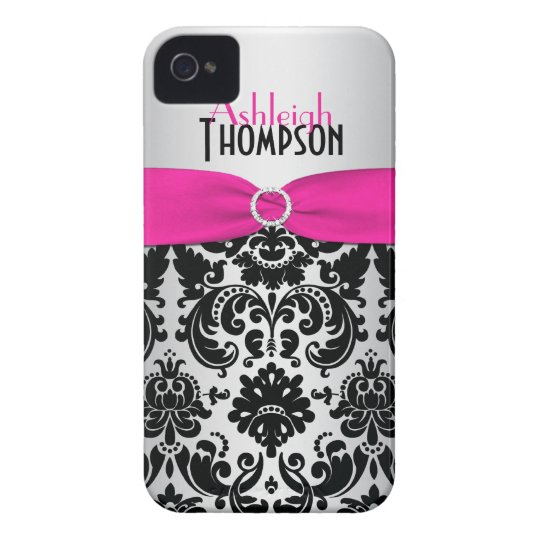 Personalized Pink, Black, Silver Damask iPhone 4 Case