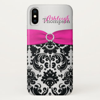 Personalized Pink, Black, Silver Damask iPhone X iPhone X Case