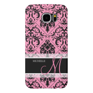 Personalized Pink & Black Vintage Damask pattern Samsung Galaxy S6 Case
