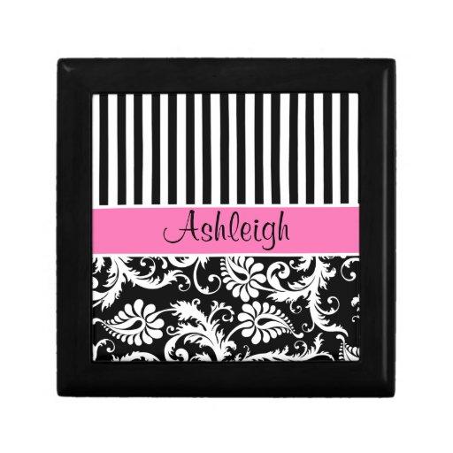 Personalized Pink, Black, White Damask Trinket Box