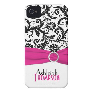 Personalized Pink, Black, White Floral Damask casematecase