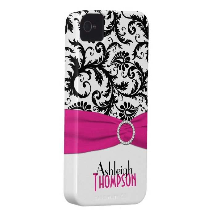 Personalized Pink, Black, White Floral Damask iPhone 4 Cover