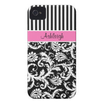 Personalized Pink, Black, White Striped Damask iPhone 4 Case