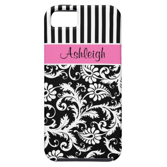 Personalized Pink, Black, White Striped Damask iPhone SE/5/5s Case