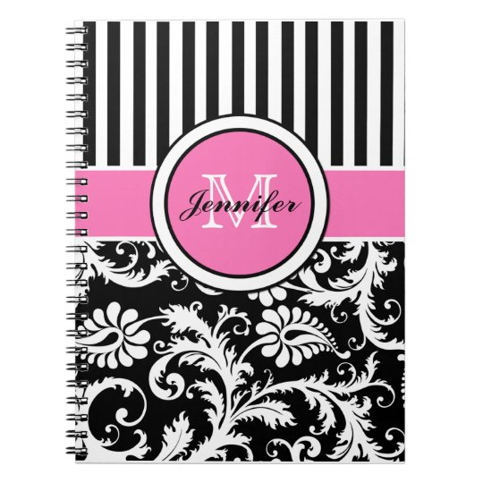 Personalized Pink Black White Striped Damask Notebook