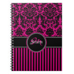 Personalized Pink Black White Striped Damask Journals
