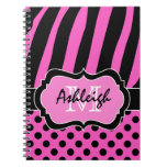 Personalized Pink Black White Striped Polka Dots Notebook
