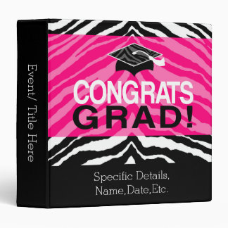 Personalized Pink Black Zebra Graduation Party 3 Ring Binder