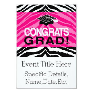 Personalized Pink Black Zebra Graduation Party Card