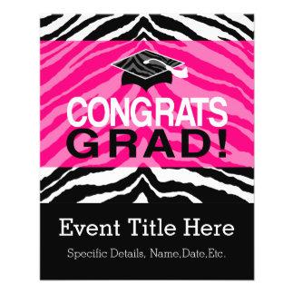 Personalized Pink Black Zebra Graduation Party Flyer