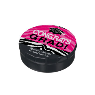 Personalized Pink Black Zebra Graduation Party Jelly Belly Candy Tin