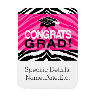 Personalized Pink Black Zebra Graduation Party Magnet