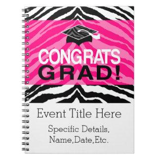 Personalized Pink Black Zebra Graduation Party Notebook