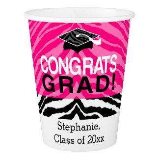 Personalized Pink Black Zebra Graduation Party Paper Cup