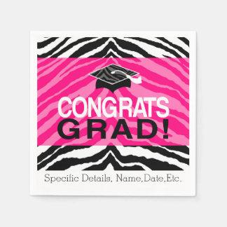 Personalized Pink Black Zebra Graduation Party Paper Napkin