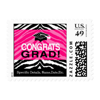Personalized Pink Black Zebra Graduation Party Postage