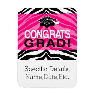 Personalized Pink Black Zebra Graduation Party Magnets