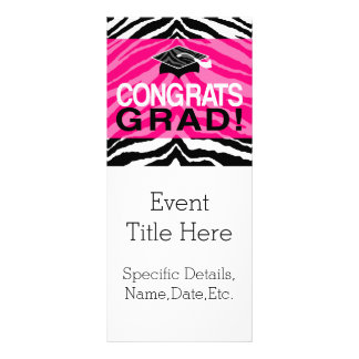 Personalized Pink Black Zebra Graduation Party Rack Card
