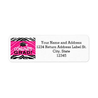 Personalized Pink Black Zebra Graduation Party Return Address Label