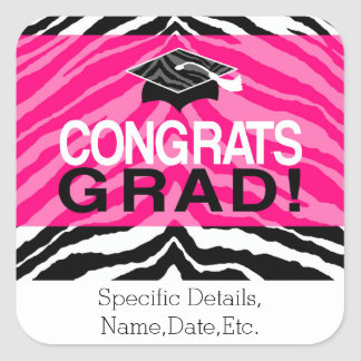 Personalized Pink Black Zebra Graduation Party Square Sticker
