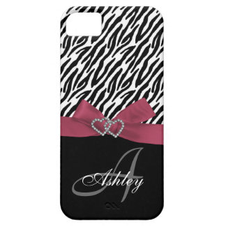 Personalized Pink, Black Zebra Stripes Monogram iPhone 5 Covers