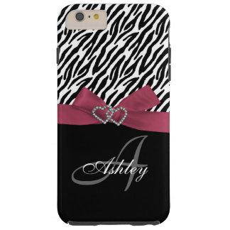 Personalized Pink, Black Zebra Stripes Monogram Tough iPhone 6 Plus Case
