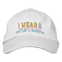 Personalized Pink Blue Ribbon Awareness Embroidery Embroidered Baseball Hat