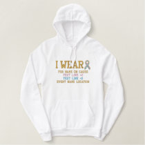 Personalized Pink Blue Ribbon Awareness Embroidery Embroidered Hoodie
