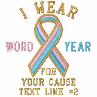 Personalized Pink Blue Ribbon Awareness Embroidery Hoodie