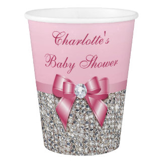 Personalized Pink Bow Silver Sequins Baby Shower Paper Cup