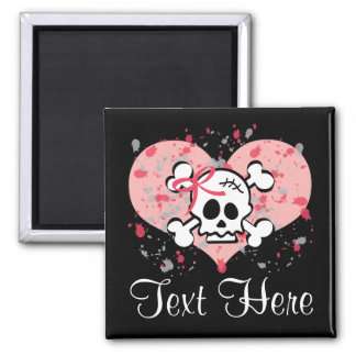Personalized Pink Bow Skull Magnet