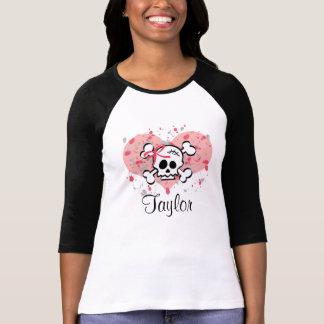 Personalized Pink Bow Skull Raglan Tee