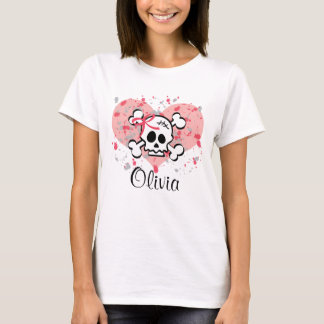 Personalized Pink Bow Skull T shirt