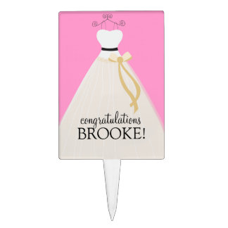 Personalized Pink Bridal Shower Cake Topper