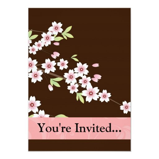 """Personalized Pink/Brown Dogwood Blossom 5"""" X 7"""" Invitation Card"""