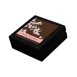 Personalized Pink/Brown Dogwood Blossom Jewelry Box