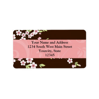 Personalized Pink/Brown Dogwood Blossom Label